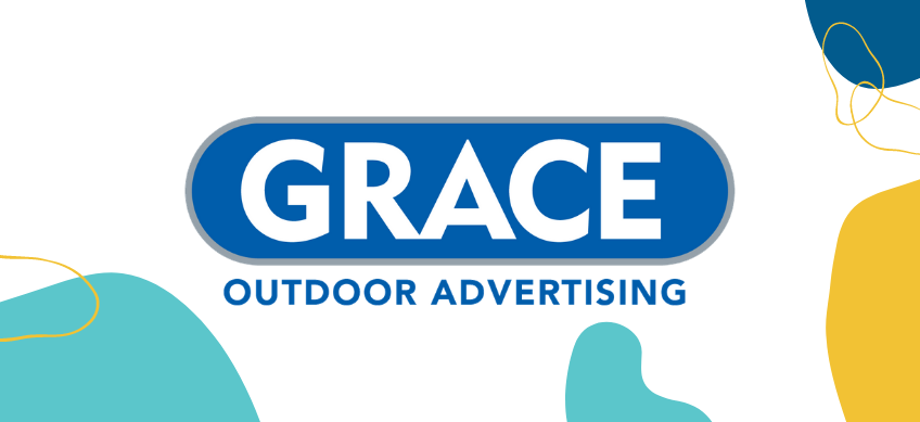 grace outdoor advertising logo on white background with decorative border