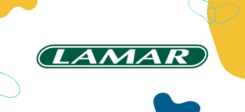 lamar advertising logo on white background with decorative border