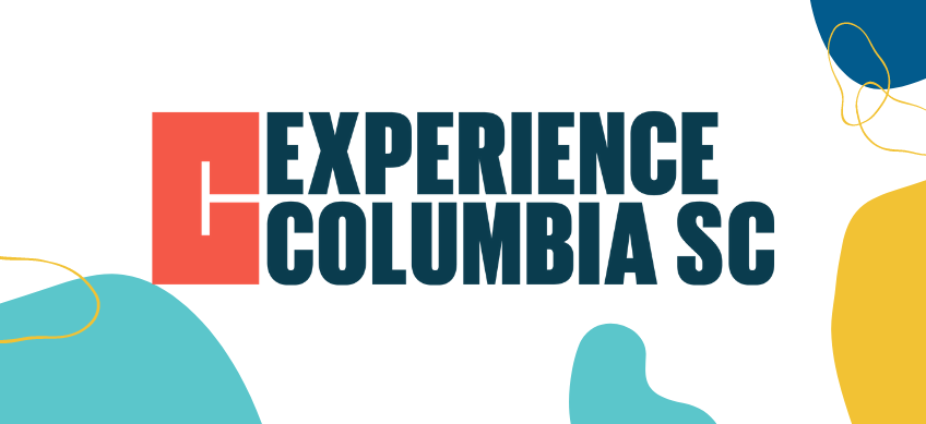 experience columbia, sc logo on white background with decorative border