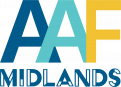 AAF Midlands logo with dark blue, turquoise and gold colors